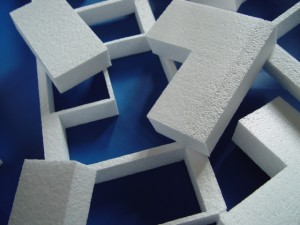 Shapes and forms cut from polystyrene
