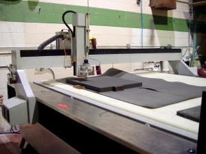 Waterjet cutting open-cell charcoal foam