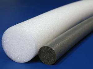 White and charcoal polyethylene rollers