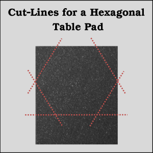 Hexagonal table pad trimming diagram