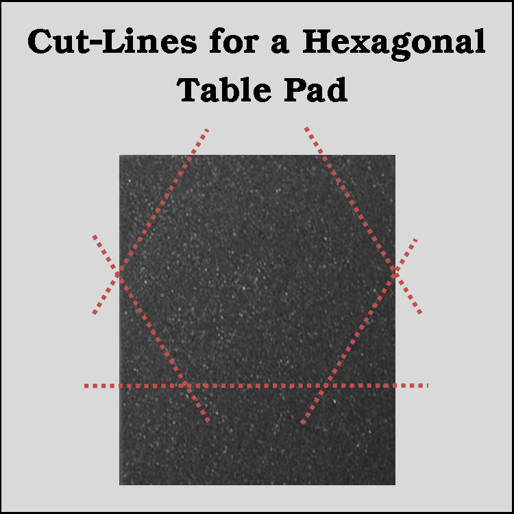 Merveilleux Hexagonal Table Pad Trimming Diagram